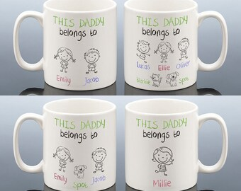 THIS DADDY BELONGS To Mug Personalised Daddy Birthday Gift Present For Dad Cup Best Stepdad