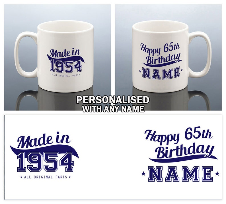 65th BIRTHDAY MUG For Men Birthday Gift Him 1954