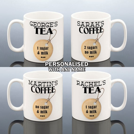 Personalised COFFEE TEA MILK Sugars Mug Office Birthday Gift