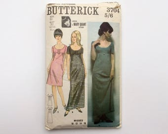 1960s B32 Mary Quant Designer High Waisted Dress Sewing Pattern : Butterick 3704