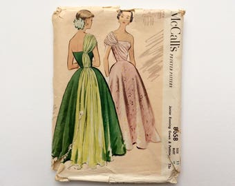 VERY RARE 1950s B29 Ballgown Sewing Pattern : McCall's 8658