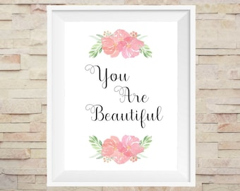 Romantic Bedroom Wife Gift Birthday For Her You Are Beautiful Printable Girlfriend Print Love Couple Wall Art