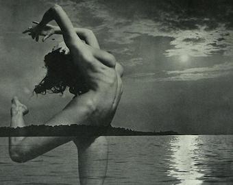 1950s Vintage Erotic Photography Print by Andre de Dienes Retro erotica art, nude woman, Composite Wall Art Unusual Photograph Bizarre Decor