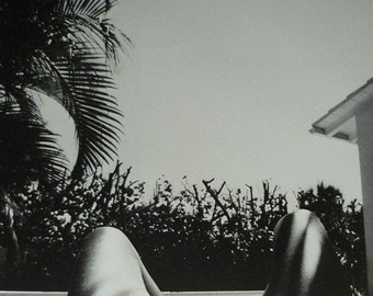 Mature 1980s Vintage Nude Self Portrait Print by Pat Booth Stunning black & white artistic photography gift, Arty retro swimming pool decor