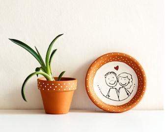Portrait custom terracotta idea gift empties pockets decorating family friends mom teachers teachers