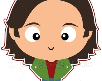 Supernatural Clipart - Sam Winchester - Cute Funko Pop, Jared Padalecki, Instant Download, Invitation, Clipart, Birthday, Printable, Avatar