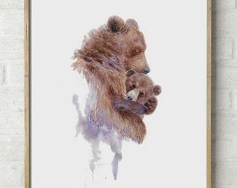 Abstract Mama Bear Watercolor Print Painting Mother Hugging Baby Cub Nursery Art Wall