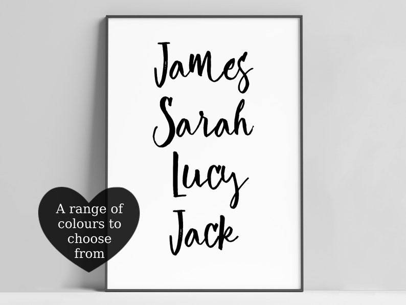 Personalised Custom Family Name Print Gift Available In A image 0