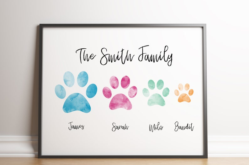 Custom Family Paw Print Gift / Personalised Family Print / image 0
