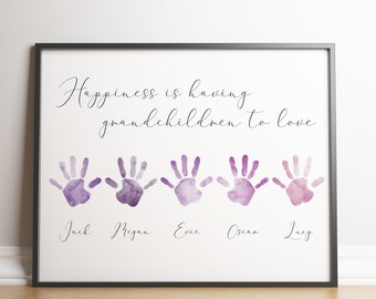 Personalised Grandparents Print / Customised Grandchildren Name Print / Family Names Print / Family Handprints / Gifts For Grandparents