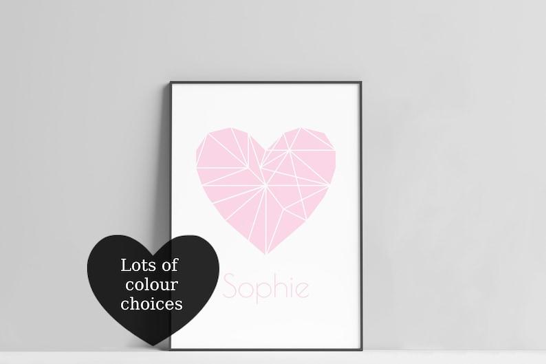 Personalised Heart Print / Name Heart Print / Geometric Heart image 0