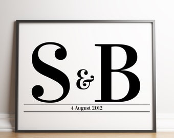 Valentines Couples Initials Print / Couples Letters Print / Initial Print / Wedding Print / Personalised Initial Print / Engagement Print