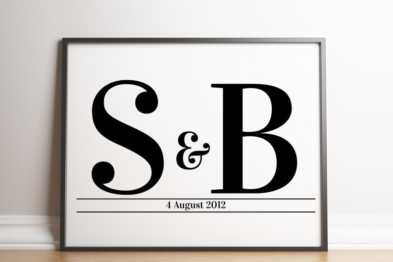Couples Initials Print / Couples Letters Print / Initial Print image 0