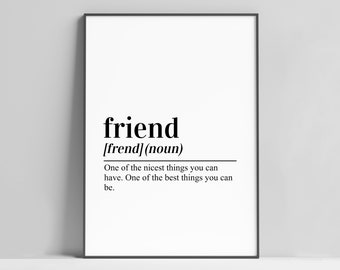 Friend Definition Print / Christmas Gift for Friend Print / Friendship Gift / Friend Wall Art / Best Friend Print / Gal Pal Gift /