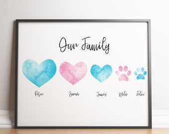 Family Names and Pets Print / Hearts and Paws / Custom Family Print Gift / Personalised Family Print / Family Name Print