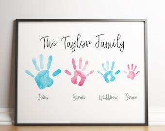 Personalised Family Hands Print / Custom Family Name Print Gift / Family Hands / Personalised Family Print / Family Name Print / Family Gift