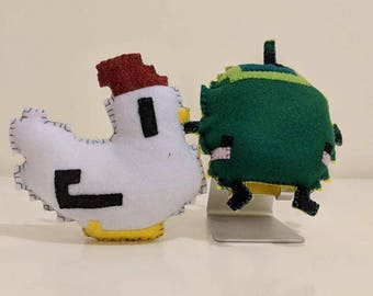 Stardew Valley Chicken and Junimo Plushies