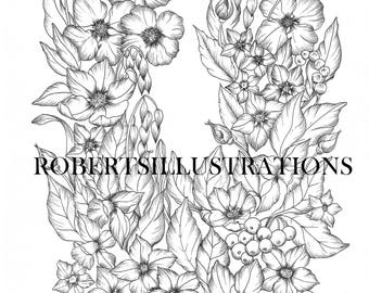 Botanical Colouring Page Flower Adult Coloring Instant Download