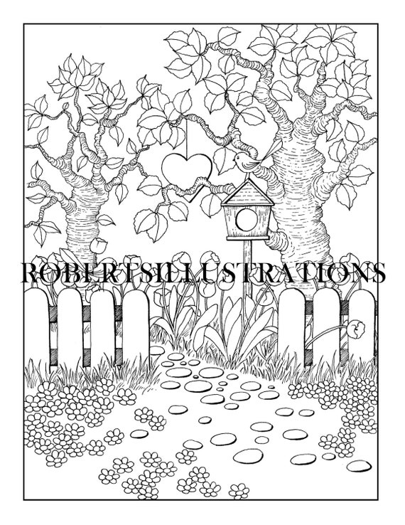Whimsical Coloring Page Little Flower Garden Printable Etsy