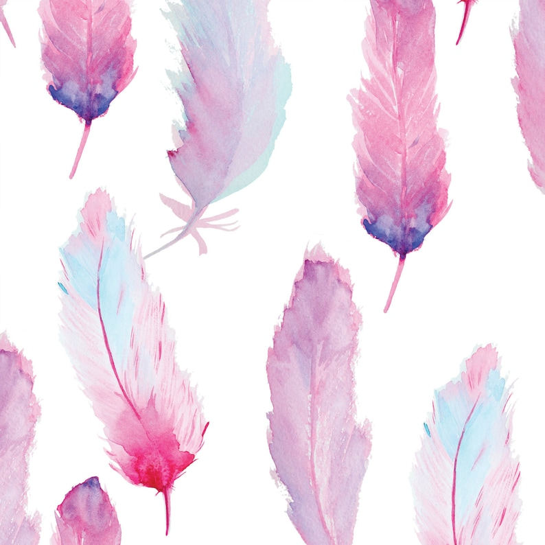 Watercolor Feathers Peel and Stick Wallpaper  Peel and Stick image 0