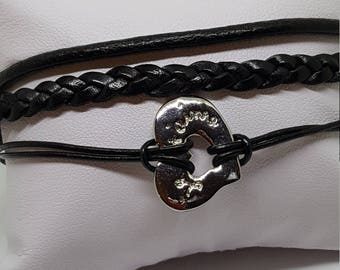 """I love you"" women leather bracelet"