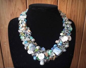 Blue Sea Fantasy Wire Crochet Statement Necklace