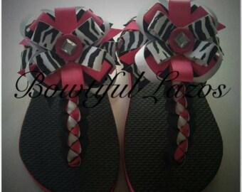 Hot pink zebra print military brade straps
