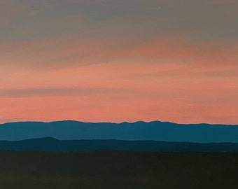 Jemez Series 3, No.6 - Original Oil Painting - Contemporary Southwest Landscape - 15 x 30 inches in handmade wooden frame
