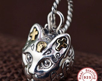 Day of The Dead Cat Style Sterling Silver Pendant Charm Hand Made Engraved Beautiful Piece