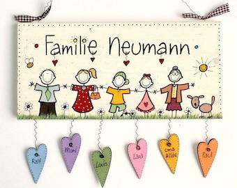 Türschild  Familie Comic II Namensschild Shabby  handbemalt mit Herzanhänger, personalisiert