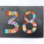 House number Slate Patchwork double number