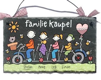 individuell personalisiertes Türschild Schiefer Familie auf Fahrrad