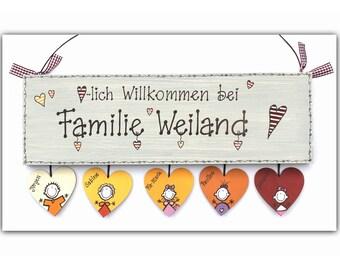 personalisiertes Türschild Familie mit Herzanhänger