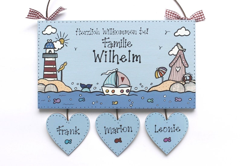 personalized door sign family with heart pendant wood maritim image 0