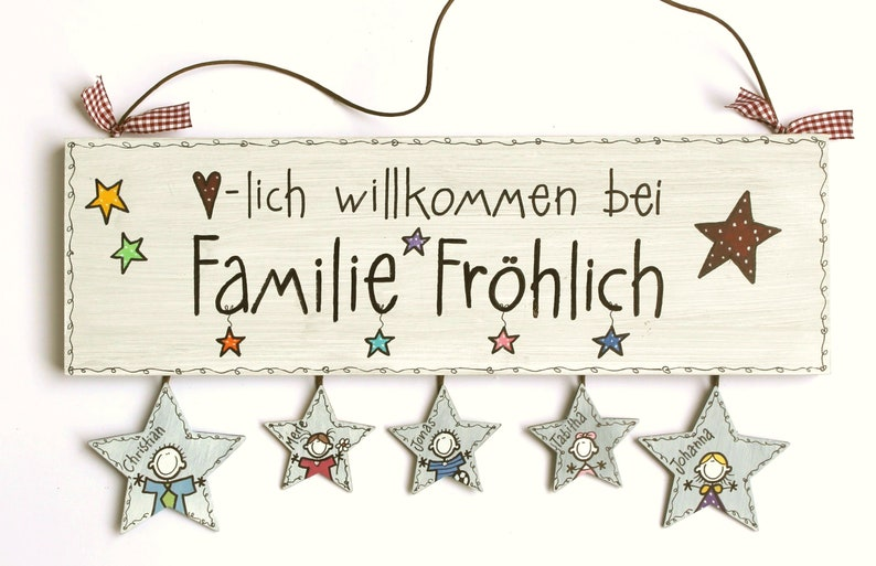 personalized door sign family with star pendant image 0
