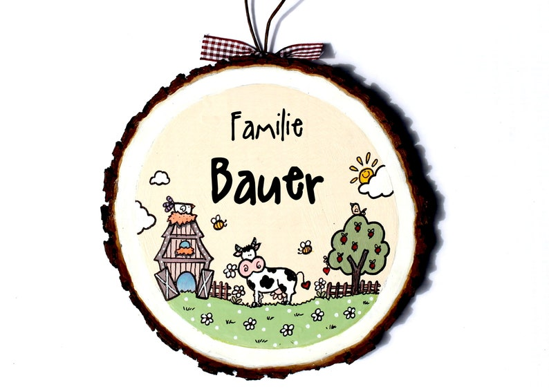 personalized door sign family wooden disc farm image 0