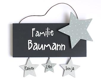 personalisiertes Türschild Stern, Namensschild Holz, Haustürschild, Eingangsschild, Familienschild mit Sternanhänger