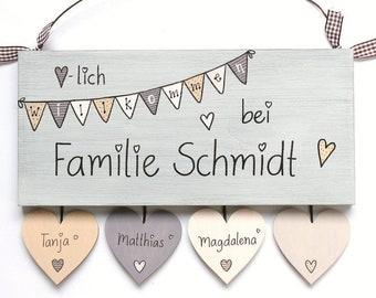 personalisiertes Hochzeitsgeschenk Shabby Türschild  Holz Wimpelkette Willkommen Pastell individuell handbemalt