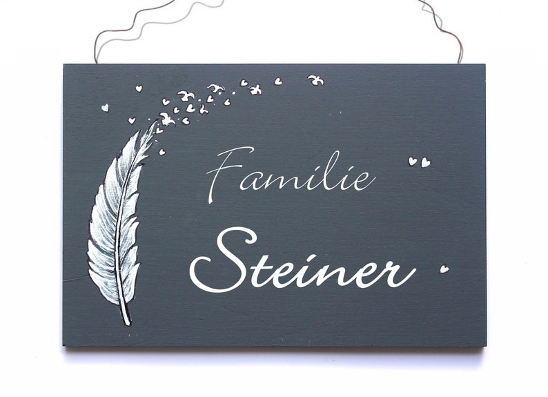 Door sign family personalized feather image 0