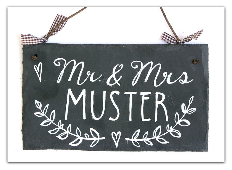 Door sign family personalized nameplate MR. & MRS slate image 0