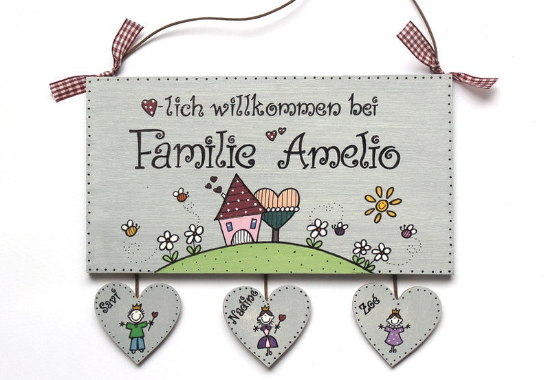 Shabby door sign Wood family wedding hand Painted image 0