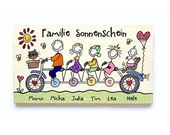 Familienschild Türschild Holz, Namensschild Familie, Türschild Familientandem, Fahrrad Unikat von Hand bemalt individuell personalisiert