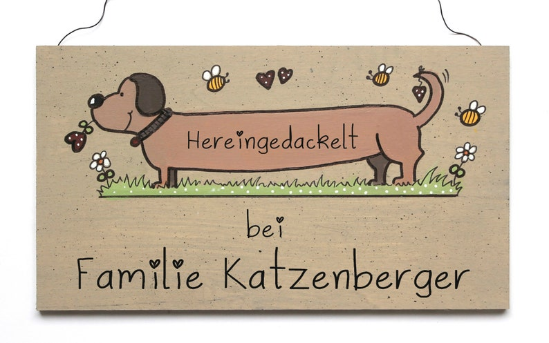 Shabby door tag nameplate family tag HUND unique hand image 0