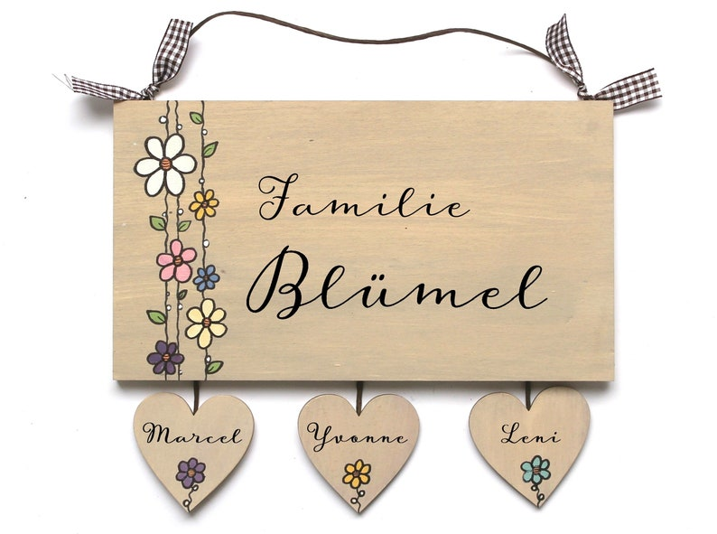personalized door sign family with heart pendant wood image 0