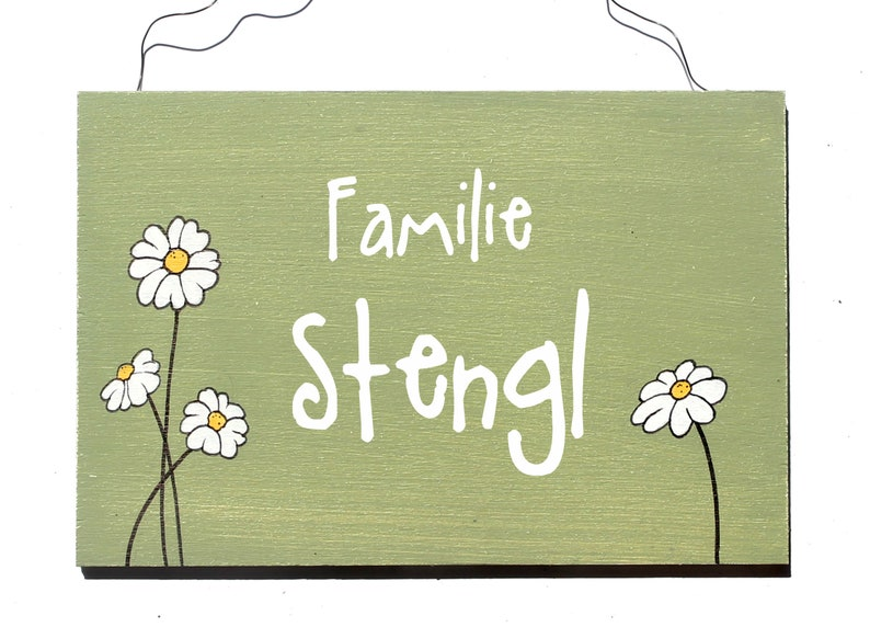 Shabby door tag name tag family sign daisies unique hand image 0