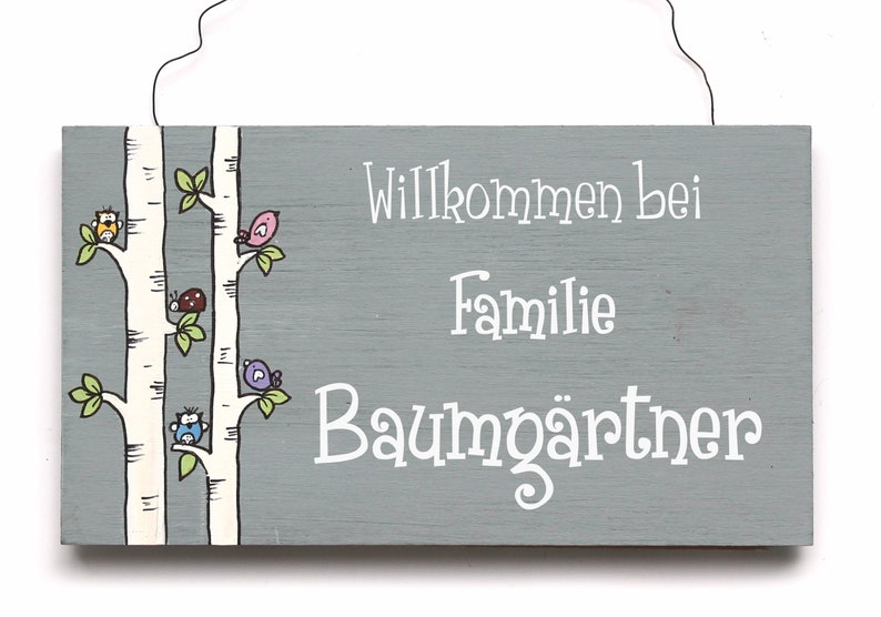 Door sign name tag wooden sign BIRKENSTÄMMCHEN one-of-a-kind image 0