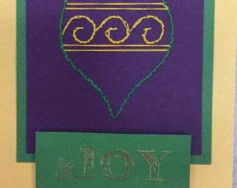 Elegant Embroidered Christmas Ornament Card
