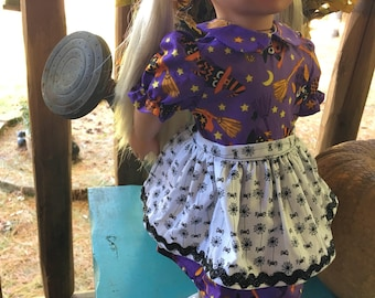 Owls and spiders purple and black Halloween outfit with spider apron made for American girl doll and other 18 inch dolls