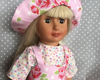Pink roses apron dress for American girl doll and other 18 inch dolls