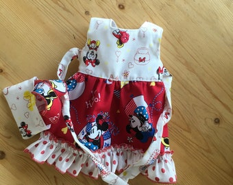 Minnie  Mouse is shopping is a shabby chic style dress with a matching shopping bag for your American girl doll or other 18 inch doll
